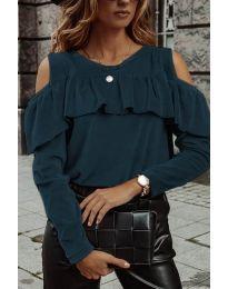 Дамска блуза в цвят тюркоаз - код 4111