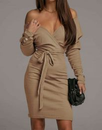 Дамска рокля в цвят капучино - код 4765