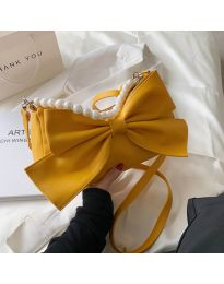 Атрактивна дамска чанта с панделка в цвят горчица - код B527