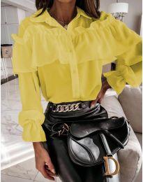 Кокетна дамска риза в жълто - код 2433