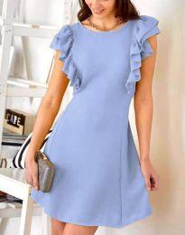 Дамска рокля в светлосиньо с къдрички - код 7111