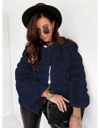 Дамско късо палто в тъмно синьо - код 7676
