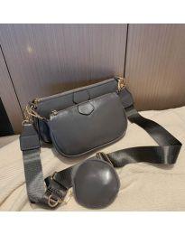 Дамска чанта в тъмносиво с два джоба с цип - код 3344