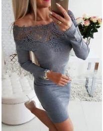 Елегантна рокля с дантелено лодка деколте в сиво - код 395