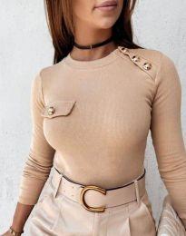 Атрактивна дамска блуза в бежово - код 2151