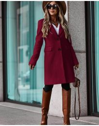 Дълго дамско палто  в бордо - код 4554