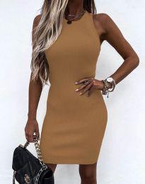 Изчистена рокля по тялото в цвят капучино - код 6331