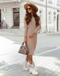 Модерна дамска рокля в цвят пудра - код 8203
