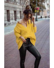 Дамски пуловер в цвят горчица - код 5952