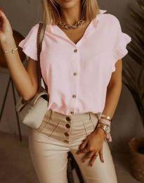 Дамска риза с къдрици в розово - код 4136