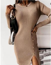 Стилна дамска рокля в цвят капучино - код 3200