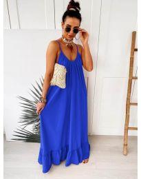 Дълга ефирна рокля в цвят синьо - код 2218