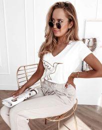 Дамска тениска с принт в бяло - код 7773