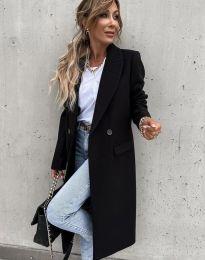 Дълго елегантно дамско палто с копчета в черно - код 8746