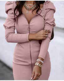 Дамска рокля в цвят пудра - код 2067