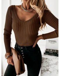 Елегантна дамска блуза в тъмнокафяво - код 4121
