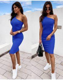 Дамска рокля в тъмно синьо с голо рамо - код 0208