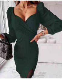 Елегантна рокля в тъмнозелено - код 2595