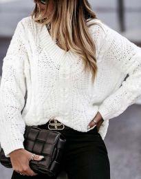 Дамски пуловер в бяло - код 1637