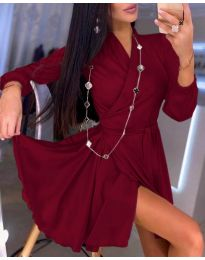 Елегантна рокля в бордо - код 2428