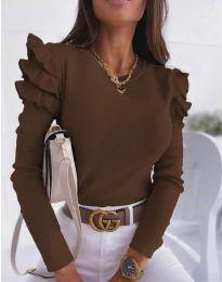 Дамска блуза в тъмнокафяво с къдрички - код 1653