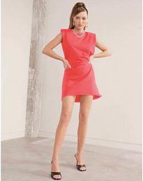 Свободна къса дамска рокля в корал - код 625