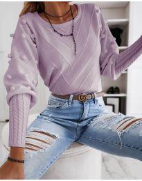 Блуза с ефектни ръкави в светло лилаво - код 5753