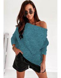 Дамска пуловер в тюркоаз - код 4323