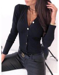 Вталена дамска риза в черно - код 247