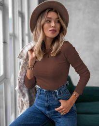 Изчистена дамска блуза в кафяво - код 5930