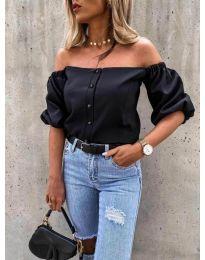 Дамска блуза с паднали къси ръкави в черно - код 243