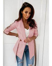 Дамско елегантно сако в цвят пудра - код 6023