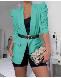 Дамско елегантно сако в зелено - код 680