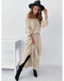 Дамска рокля в бежово - код 1317