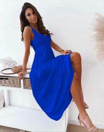 Дълга дамска рокля в тъмносиньо - код 4807