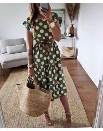 Феерична рокля в зелено на точки - код 1415