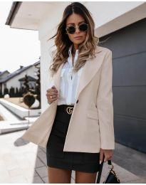 Дамско сако с копче в бежово - код 4569