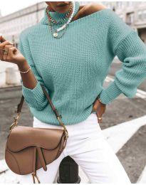 Дамски ефектен пуловер в цвят мента - код 1804