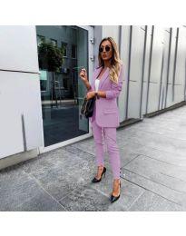 Елегантен комплект от сако и панталон в лилаво - код 862