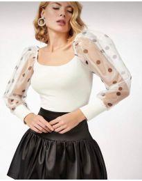 Блуза с ефектни ръкави в бяло - код 11320