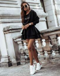 Кокетна дамска рокля в черно - код 12051