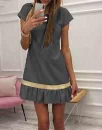 Стилна дамска рокля в сиво - код 2532