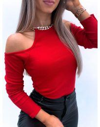 Дамска блуза с голи рамене в червено - код 4191