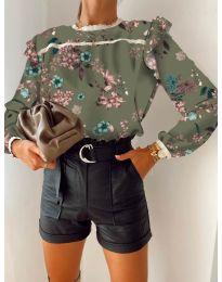 Дамска риза с флорален десен - код 7703 -2