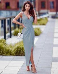 Стилна дамска рокля в светлосиньо - код 6135