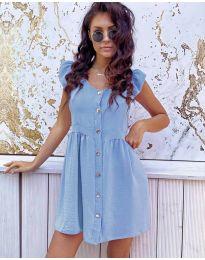 Свободна изчистена рокля в светло  синьо - код 3033