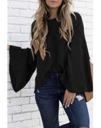 Блуза с ефектни ръкави в черно - код 076