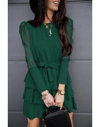 Елегантна рокля в маслено зелено - код 8384