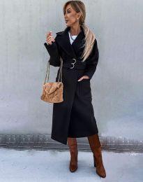 Стилно дамско палто в черно - код 3784