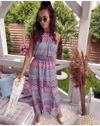 Дълга рокля с атрактивен десен  - код 9854